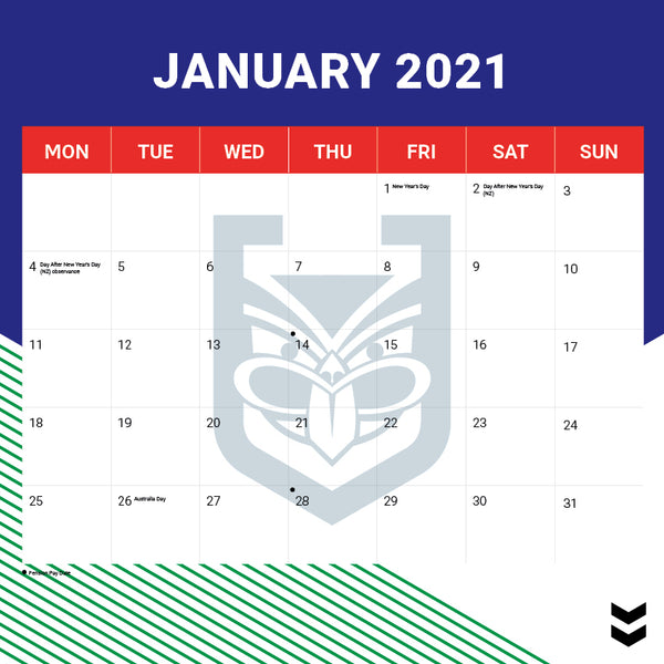 NRL NZ Warriors 2021 Calendar