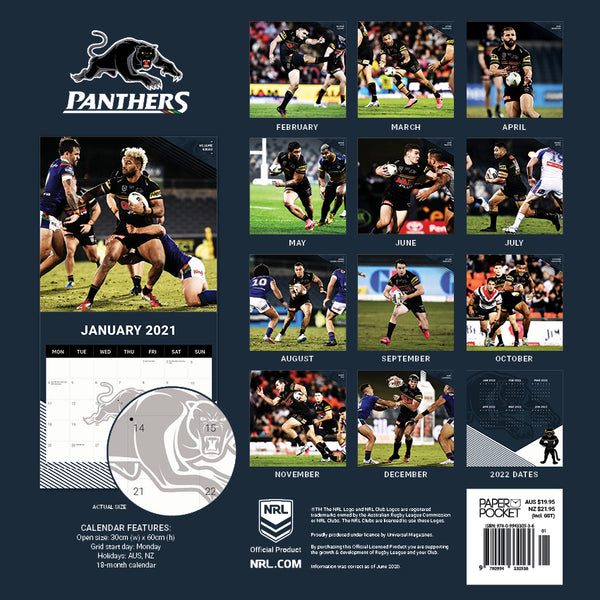 NRL Penrith Panthers 2021 Calendar