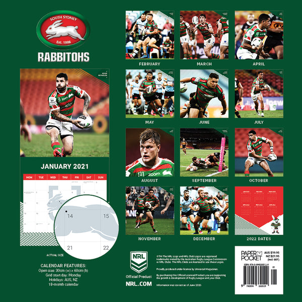 NRL South Sydney Rabbitohs 2021 Calendar