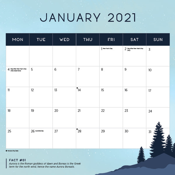 Northern Lights 2021 Calendar