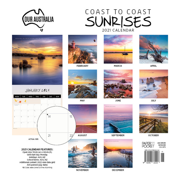 Our Australia Coast to Coast Sunrises 2021 Calendar