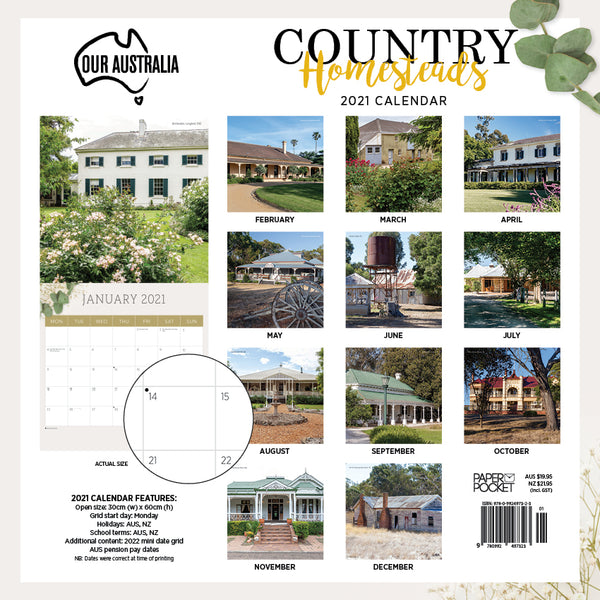 Our Australia Country Homesteads 2021 Calendar
