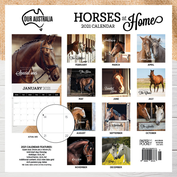 Our Australia Horses at Home 2021 Calendar