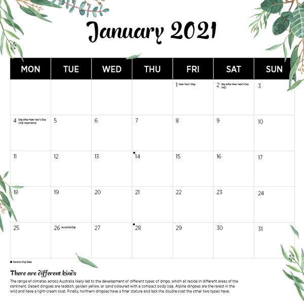 Our Australia Native Animals 2021 Calendar