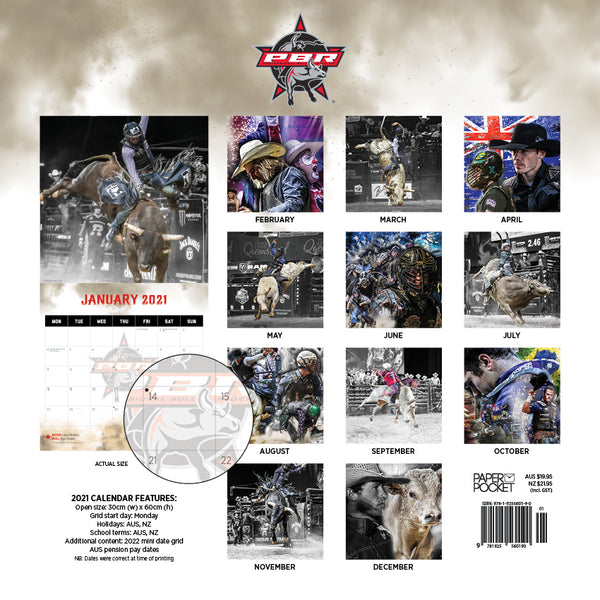 PBR Professional Bull Riding 2021 Calendar