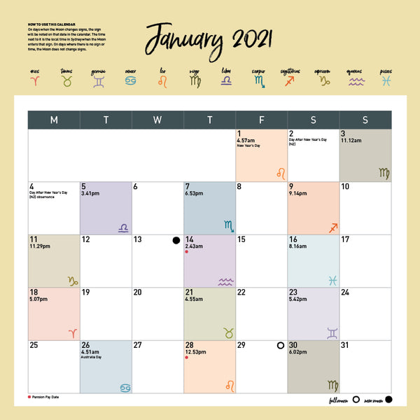 Wellbeing Astrology 2021 Calendar