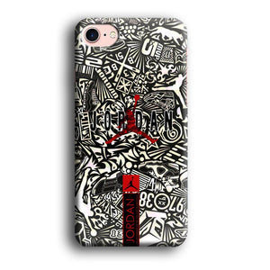 Air Jordan B&W Doodle iPhone 7 3D coque custodia fundas