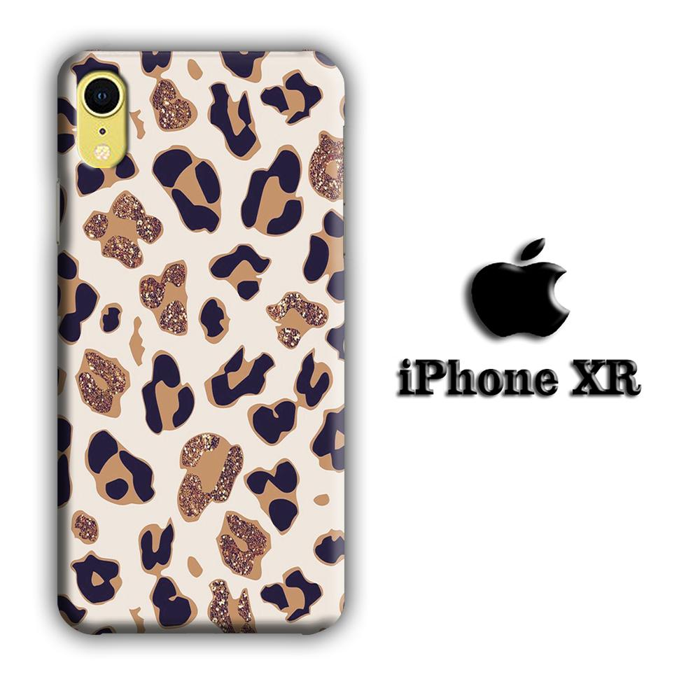 Animal Prints Jaguar Brown Glitter iPhone XR 3D coque custodia fundas