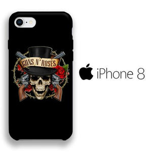 Band GnR Skull Rose iPhone 8 3D coque custodia fundas