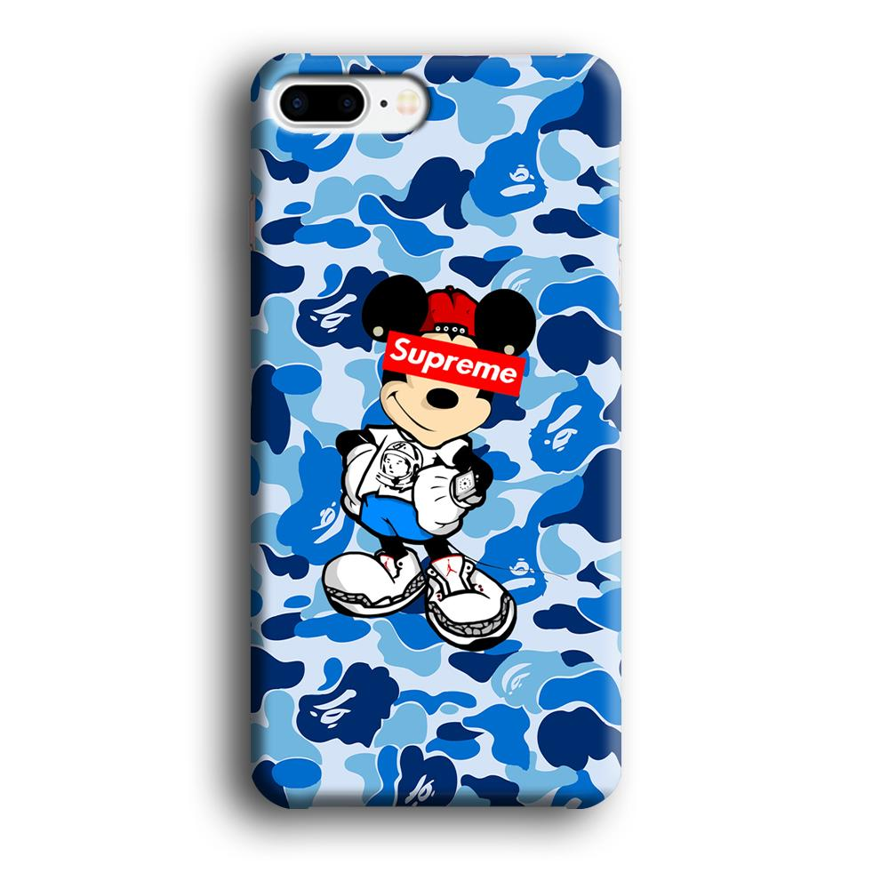 Bape Camo x Supreme Mickey iPhone 7 Plus 3D coque custodia fundas