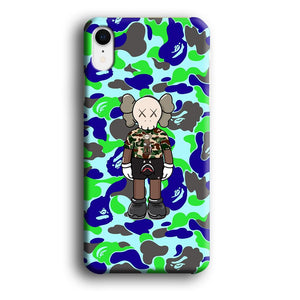 Bape Kaws Patern in Camo iPhone XR 3D coque custodia fundas