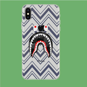 Bape Shark Strip iPhone X Clear coque custodia fundas