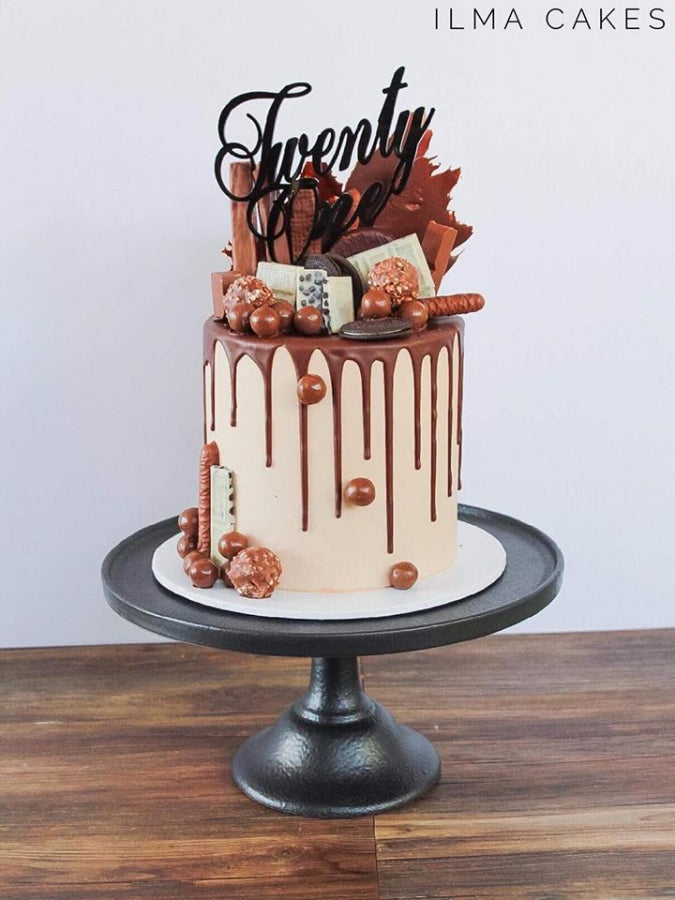 Scripted Twenty One Cake Topper