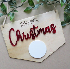 Christmas Countdown Plaque (Timber)