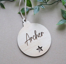 Load image into Gallery viewer, Etched Bauble Christmas Decorations (Timber or Acrylic)