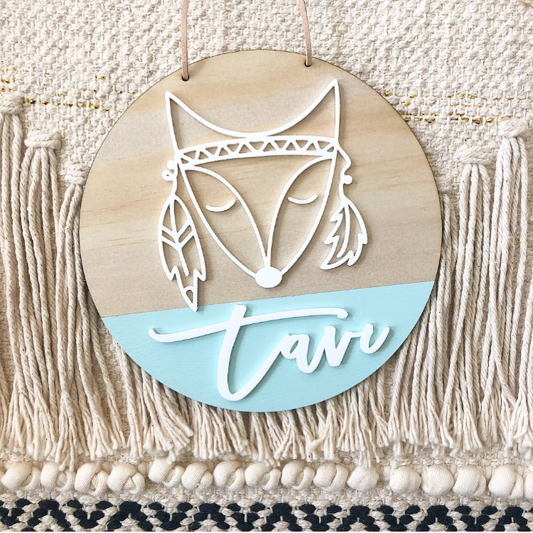 Tribal Fox Name Plaque