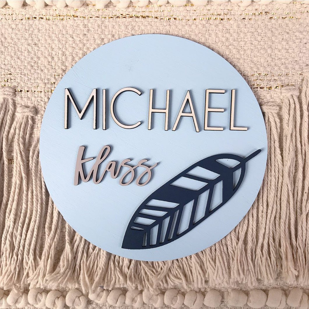 3D Feather Name Plaque