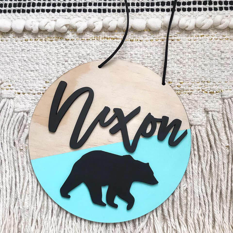 3D Bear Name Plaque