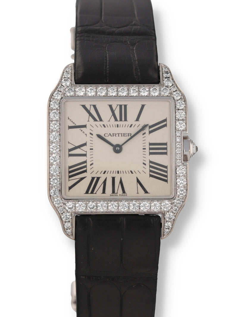 34363: Cartier 18k White Gold Small Santos Dumont, Ref. WH100251