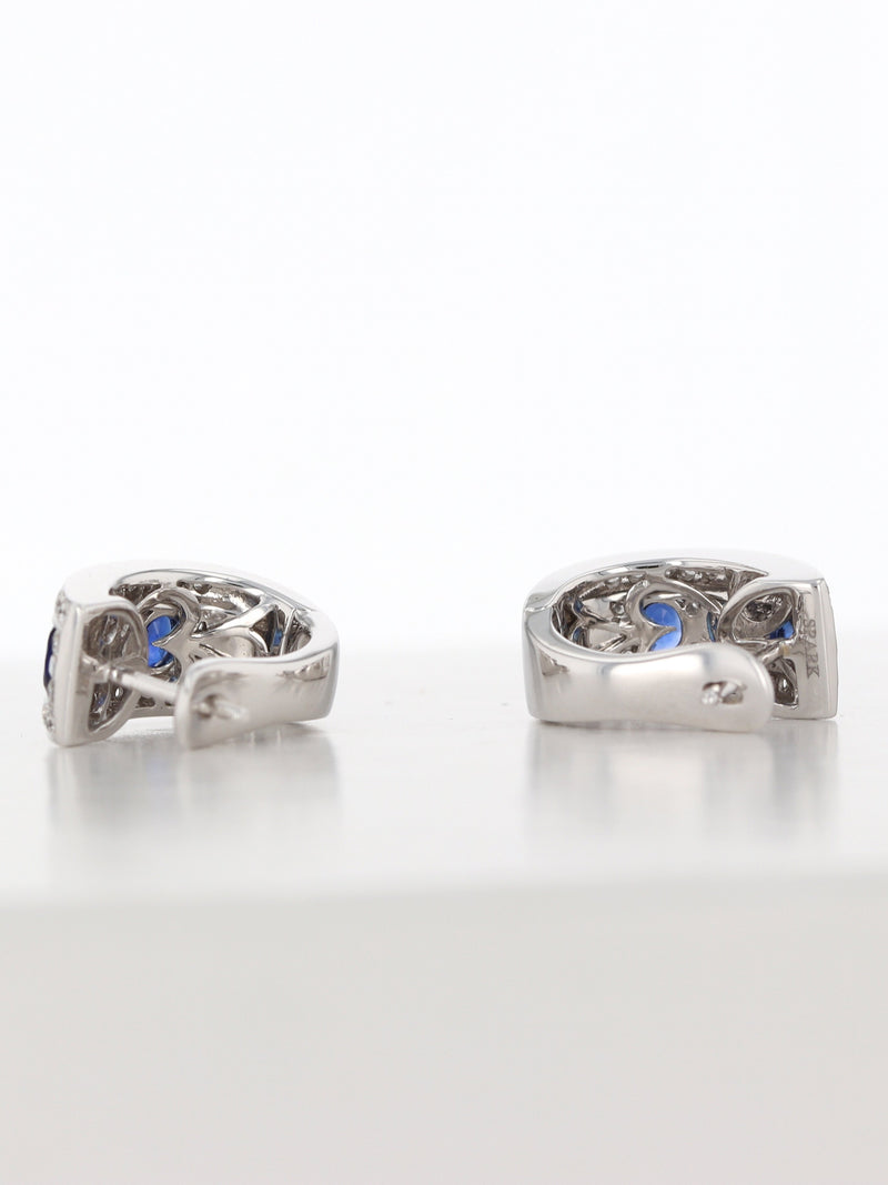 35417: 18k White Gold Diamond/Sapphire Earrings