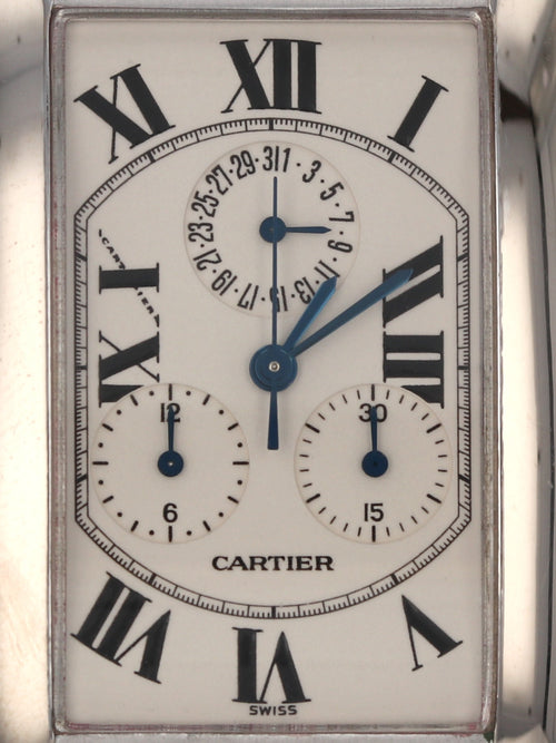 35525: Cartier 18k White Gold Tank Americaine Chronograph, Quartz