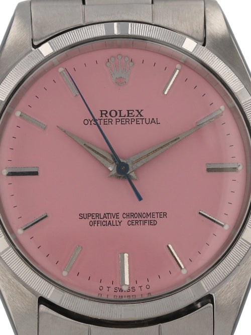 35564: Rolex vintage 1961 Oyster Perpetual, Ref. 1002, Custom Pink Dial