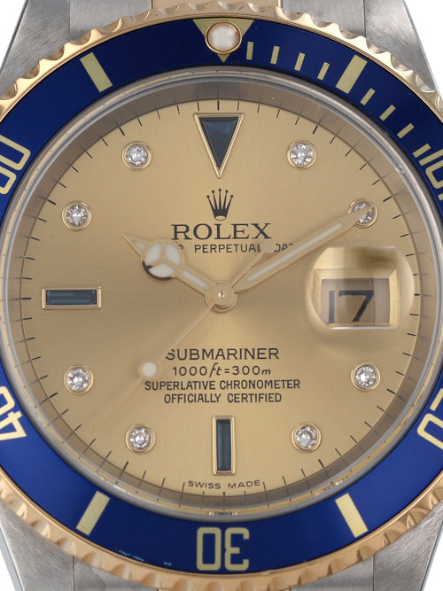 "35580: Rolex ""Serti"" Submariner, Ref. 16613, 2006 Full Set"