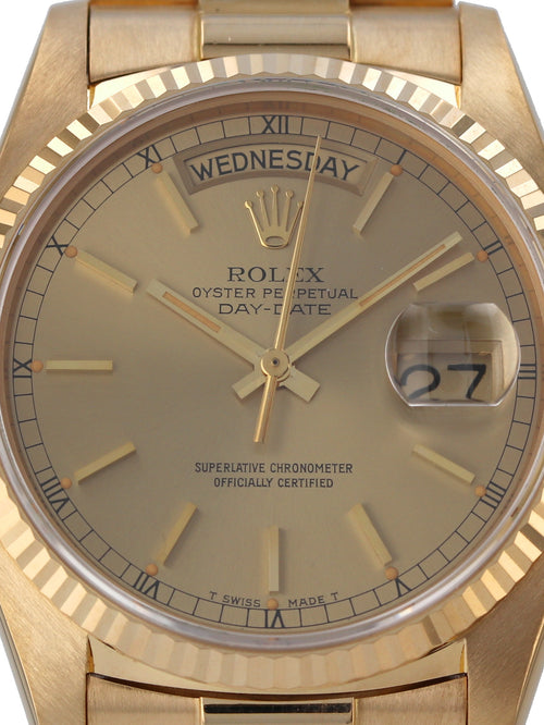 35586: Rolex 18k Yellow Gold President, Ref. 18038