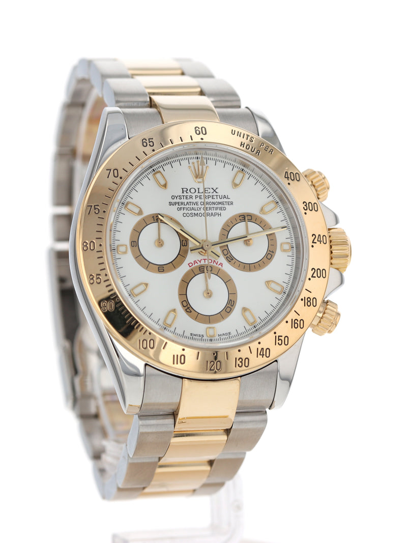 35654: Rolex Stainless Steel and 18k Yellow Gold Daytona, Ref. 116523, Circa 2000