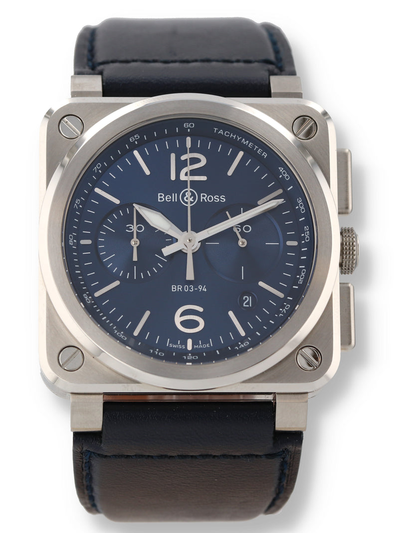 35694: Bell & Ross Chronograph, Ref. BR-03-94-S-24571, Full Set