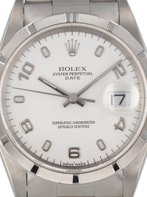 35782: Rolex Stainless Steel Date, Ref. 15210, 1999 Full Set