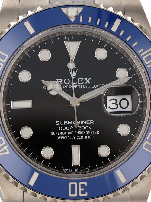 35783: Rolex 18k White Gold Submariner 41, Ref. 126619LB, Unworn 2021 Full Set