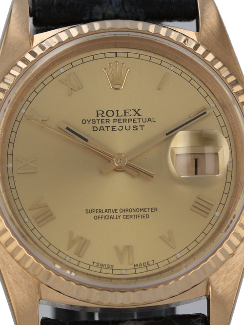 35906: Rolex 18k Yellow Gold Datejust, Ref. 16018, Circa 1983