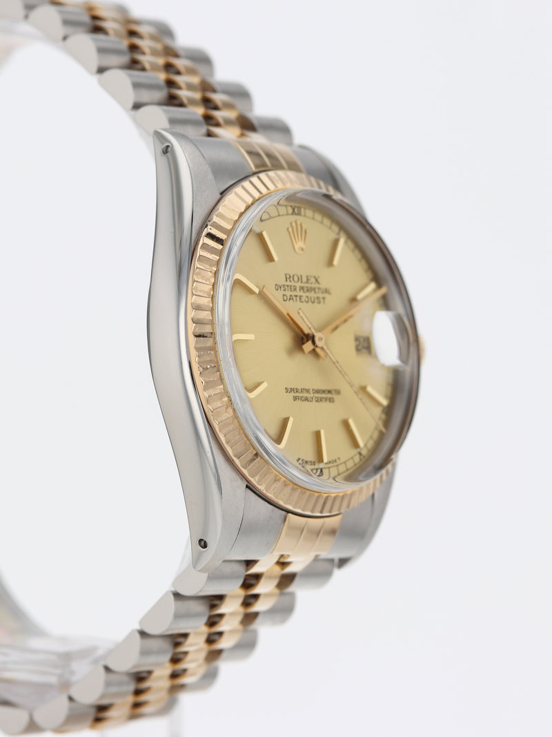 35942: Rolex Vintage 18k and Stainless Steel Datejust, Ref. 16013, Circa 1986