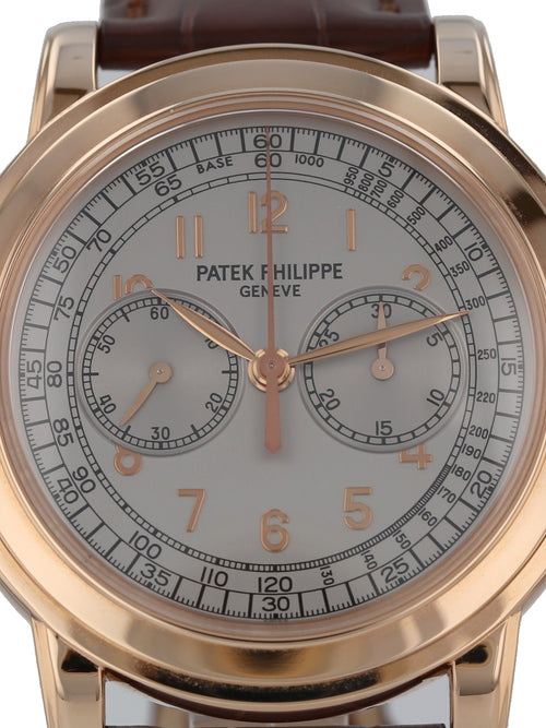 36010: Patek Philippe 18k Rose Gold Chronograph, Ref. 5070R, 2015 Full Set