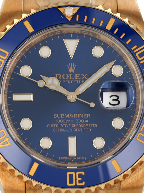 M35567: Unworn Rolex 18k Yellow Gold Submariner, Ref. 116618LB , 2016 Full Set