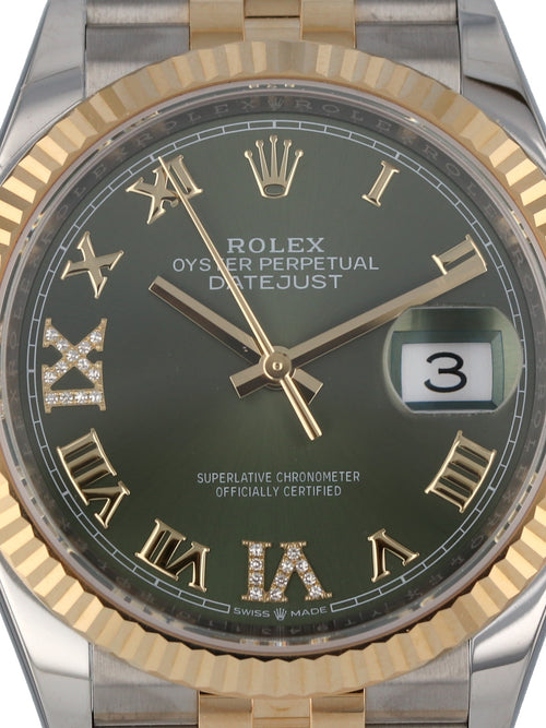 M35643: Rolex Datejust 36, Ref. 126233, 2020 Unworn Full Set