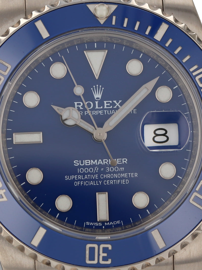 "M35686: Rolex 18k White Gold Submariner ""Smurf"", Ref. 116619LB, 2019 Full Set"