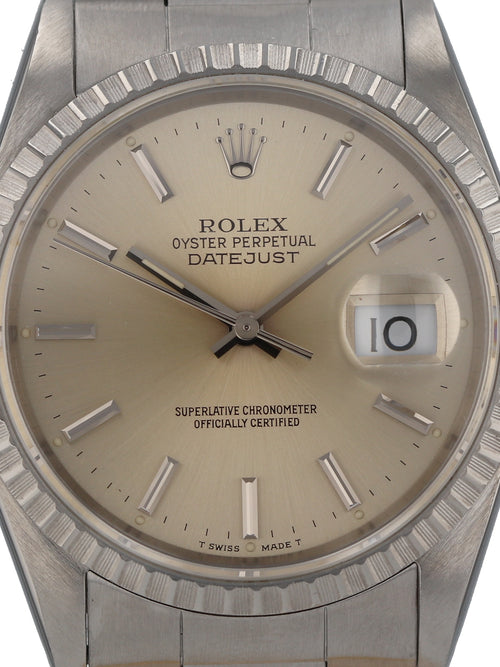 "M35768: Rolex Datejust, Ref. 16220, 1991 Full Set ""Tropical"" Dial"
