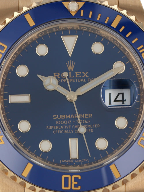 M35915: Rolex 18k Submariner, Ref. 116618LB, 2021 Full Set