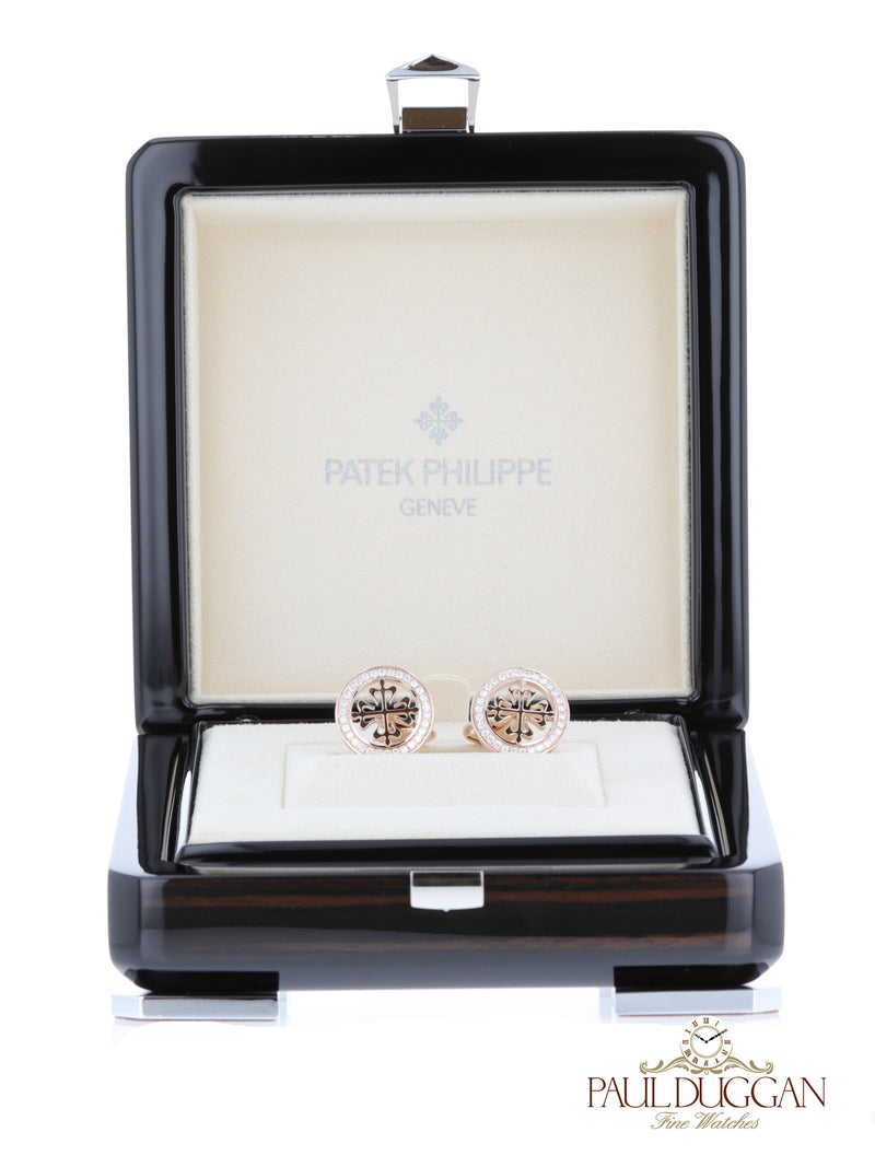 18k Rose Gold Diamond Cufflinks
