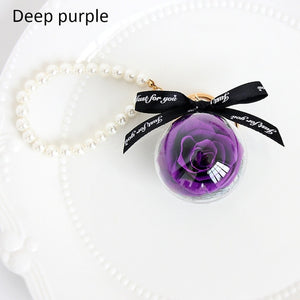 Eternal Flower Natural Dried flowers Pendant Keychain Make A Wish