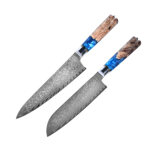 Japanese Damascus Steel Chef Knives With Blue Resin Handle Japanese Damascus Steel Chef Knives With Blue Resin Handle - EasyChefLife.com