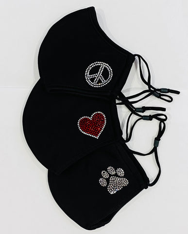 3 Pack Special Deal, Small Rhinestone Heart, Rhinestone Pawprint, Rhinestone Peace Sign Individually-Reusable, Adjustable, Breathable Masks