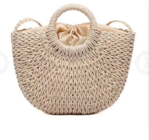 Straw Weave Handbag with Detachable Strap , Tote Bag, Beach, Pool, Spring, Summer, Fall Tote