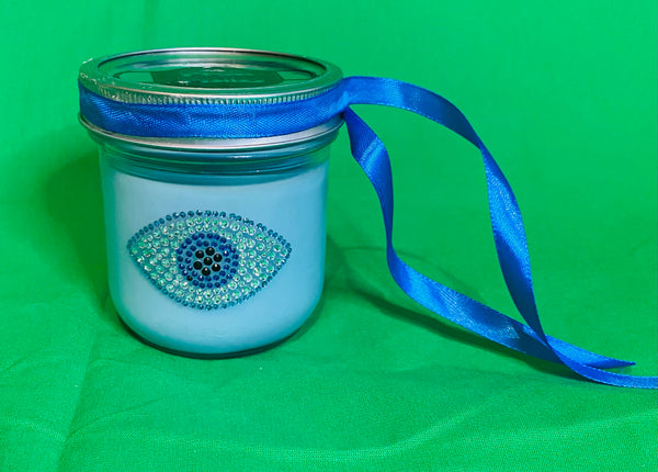 Decorative Candle, Organic Soy Scented Candle, Color Candle, House Warming Gift with Dead Head Rose Logo or Evil Eye Rhinestone , Glass Jar