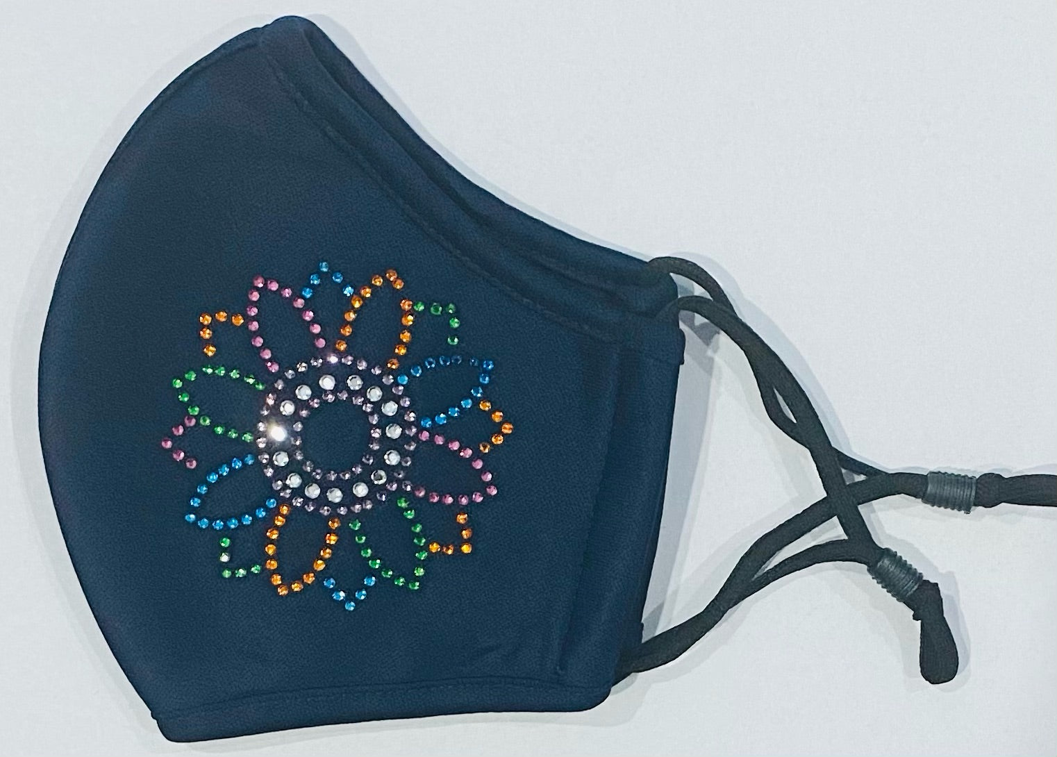 Bedazzled, Bling, Nailheads Colored Flower- Child, Adult Face Covering. Reusable, Adjustable, Breathable Mask With Image