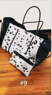 Neoprene and Dacron White With Black Stars Tote Bag, Beach, Pool, Fall and Spring Tote