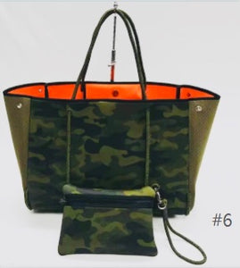 Neoprene and Dacron Green Camouflage With Orange Interior Tote Bag, Beach, Pool, Fall and Spring Tote