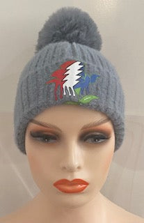Solid Boho Chic Beanie with Pom and Dead Head Rose Logo